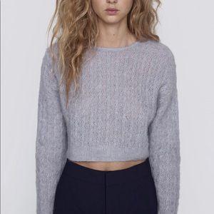 Zara Lacy Knit Cropped Sweater